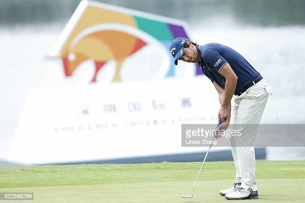 Matteo Manassero of Italy plays a shot during the proam prior to the start of the Shenzhen International at Genzon Golf Club on April 20 2016 in...