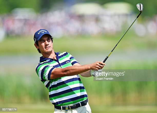 Matteo Manassero of Italy plays a shot during the second round of the Nordea Masters at Bro Hof Slott Golf Club on June 3, 2016 in Stockholm, Sweden.