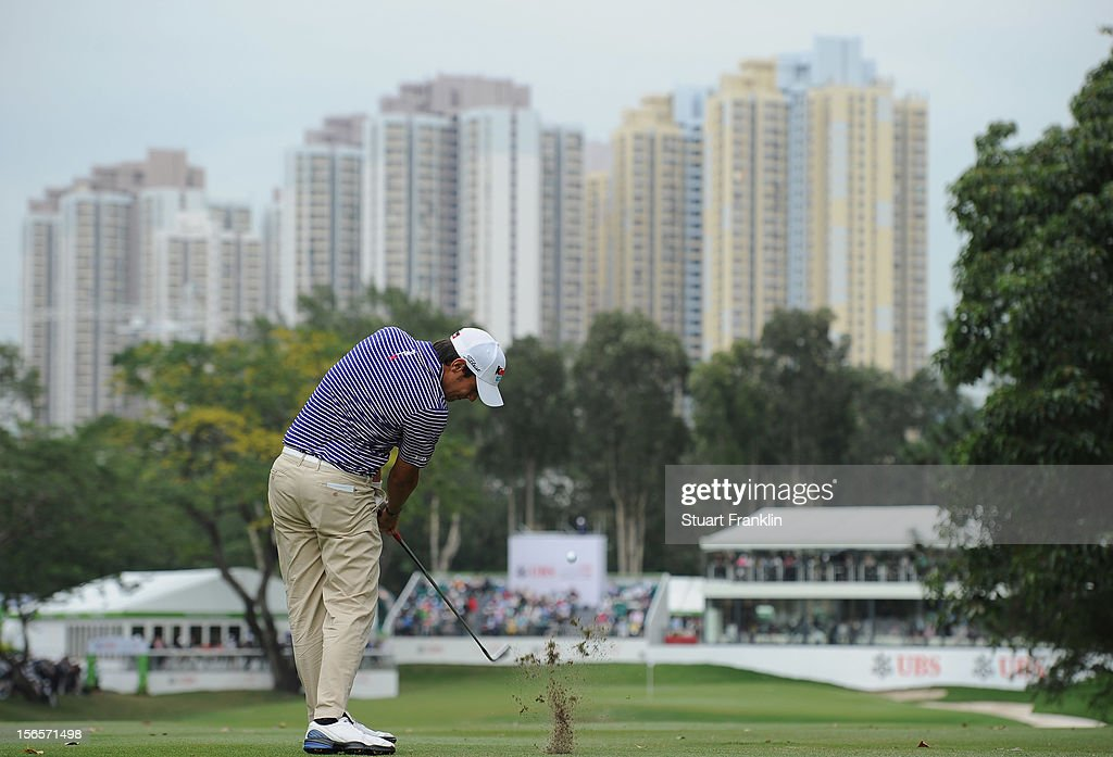 Matteo Manassero of Italy plays a shot during the third round of the UBS Hong Kong open at The Hong Kong Golf Club on November 17, 2012 in Hong Kong, Hong Kong.