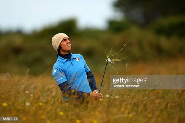 Matteo Manassero of Italy plays from deep rough on the 17th during The Amateur Championship Final between Matteo Manassero and Sam Hutsby at Formby...