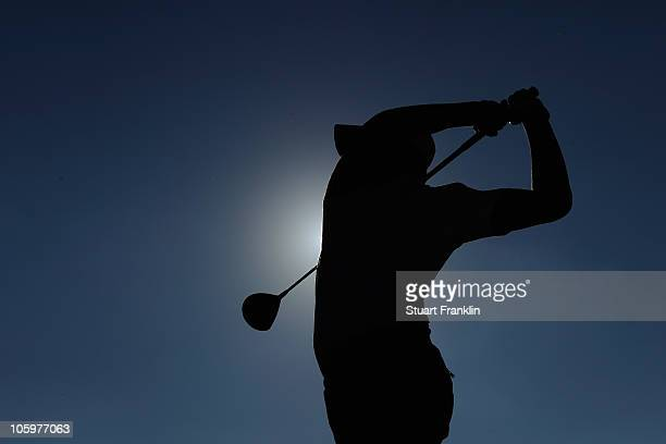 Matteo Manassero of Italy plays his tee shot on the 18th hole during the third round of the Castello Masters Costa Azahar at the Club de Campo del...