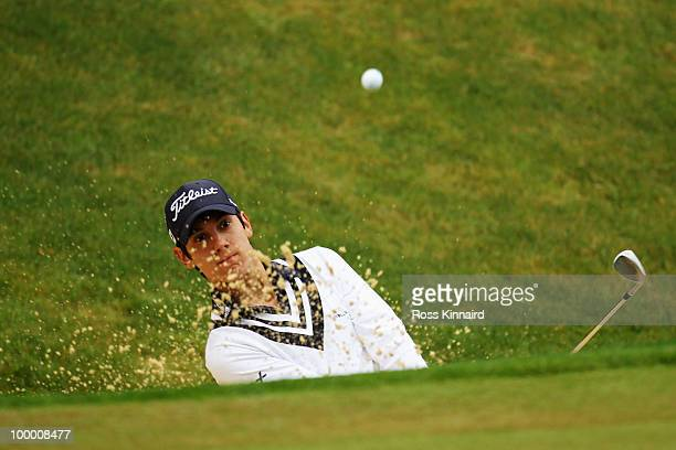 Matteo Manassero of Italy plays his third shot on the 3rd hole during the first round of the BMW PGA Championship on the West Course at Wentworth on...