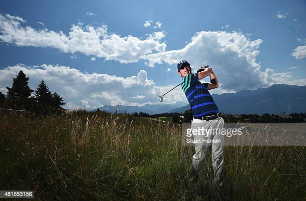 Matteo Manassero of Italy poses for a picture prior to the start of the Omega European Masters at CranssurSierre Golf Club on July 22 2015 in...