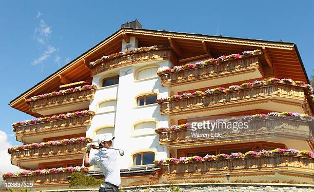 Matteo Manassero of Italy tees off on the seventh hole during the third round of The Omega European Masters at Crans-Sur-Sierre Golf Club on...