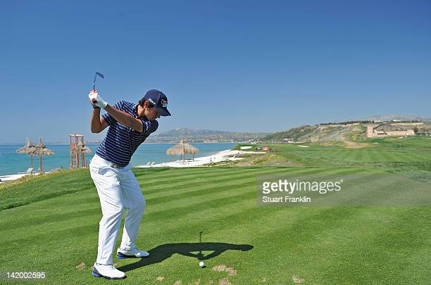 Matteo Manassero of Itlay plays a shot during the proam prior to the start of the Sicilian Open at Verdura Golf and Spa Resort on March 28 2012 in...