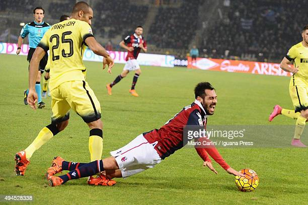 Matteo Mancosu of Bologna FC reacts after being tackled by Joao Miranda of Internazionale Milano during the Serie A match between Bologna FC and FC...