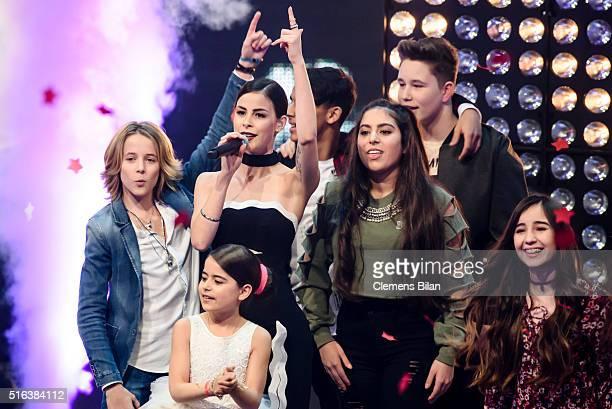 Matteo Markus Magdalina Lena MeyerLandrut Yassine Melisa Ridon and Sofia attend the 'The Voice Kids' Semi Finals on March 11 2016 in Berlin Germany