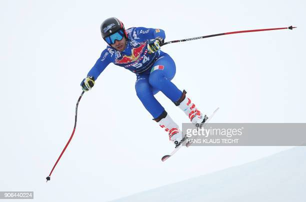 Matteo Marsaglia of Italy performs during a training session of the FIS Alpine World Cup Men's downhill event in Kitzbuehel Austria on January 18...