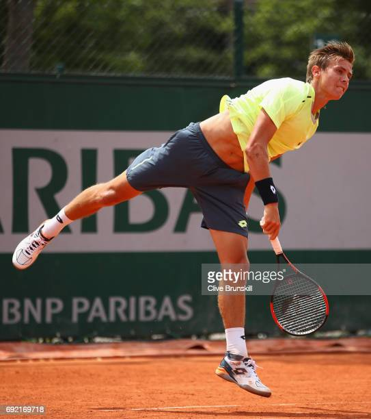 Matteo Martineau of France serves during the boys singles first round match against Juan Pablo Grassi Mazzuchi of Argentina on day eight of the 2017...