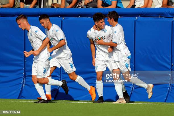 Matteo Martini of Empoli FC celebrates after scoring a goal during the match between Empoli FC U17 and ACF Fiorentina U17 on October 14 2018 in...