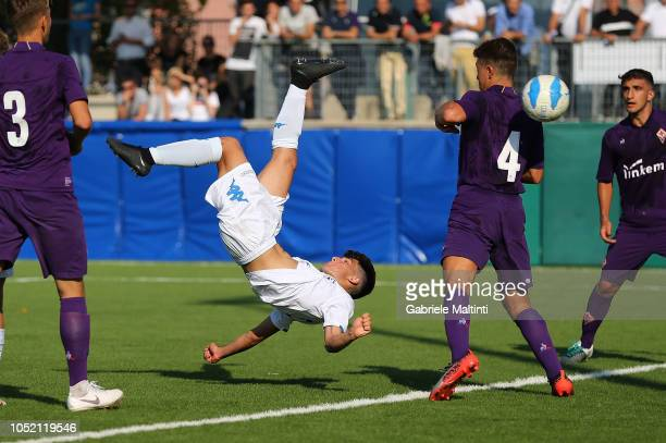 Matteo Martini of Empoli FC U17 scores the goal during the match Empoli FC U17 between ACF Fiorentina U17 on October 14 2018 in Empoli Italy