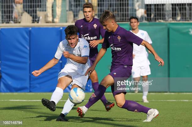 Matteo Martini of Empoli U17 in action during the match between Empoli FC U17 and ACF Fiorentina U17 on October 14 2018 in Empoli Italy