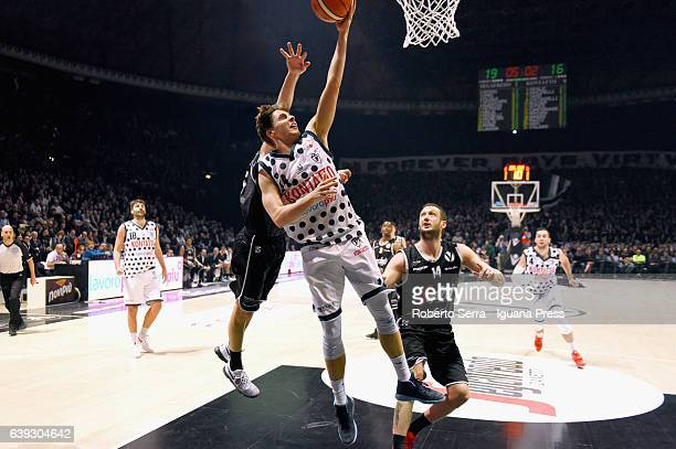 Matteo Montano of Kontatto competes with Andrea Michelori and Guido Rosselli of Segafredo during the LNP lega basket of Serie A2 match the Derby of...