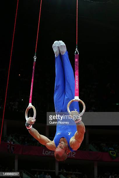 Matteo Morandi of Italy competes on the Artistic Gymnastics Men's Rings on Day 10 of the London 2012 Olympic Games at North Greenwich Arena on August...