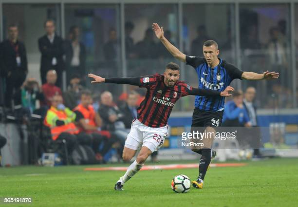 Matteo Musacchio of Milan player and Ivan Perisic of Inter player during the match valid for Italian Football Championships Serie A 20172018 between...