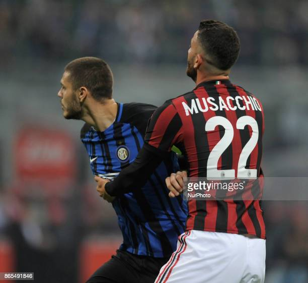 Matteo Musacchio of Milan player and Mauro Icardi of Inter player during the match valid for Italian Football Championships Serie A 20172018 between...