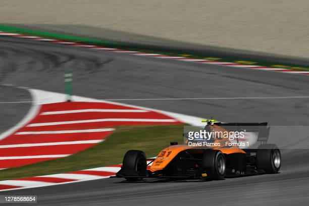 Matteo Nannini of Italy and Campos Racing drives during Day One of the Formula 3 Testing session at Circuit de Barcelona-Catalunya on October 05,...