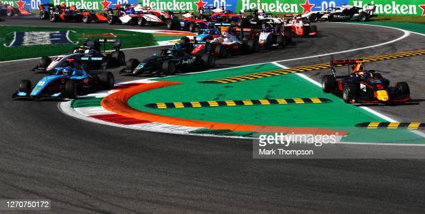 Matteo Nannini of Italy and Jenzer Motorsport leads the field at the start as Liam Lawson of New Zealand and Hitech Grand Prix runs wide during race...