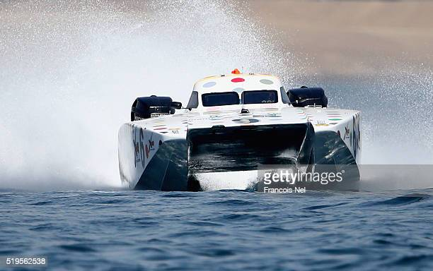 Matteo Nicolini and Tomaso Polli of Six race for pole position during the Fujairah Grand Prix the first round of the UIM XCAT World Series 2016 where...