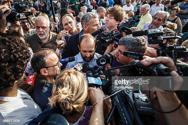 Matteo Orfini President of the Democratic Party attends an antimafia rally to protest against the ostentatious funeral of the purported Italian crime...