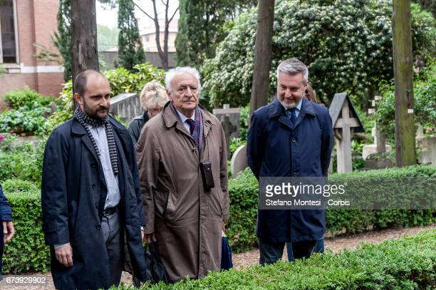 Matteo Orfini President of the National Assembly of the PD Giuseppe Vacca Lorenzo Guerini Deputy Secretary of the PD pay homage to the tomb of...