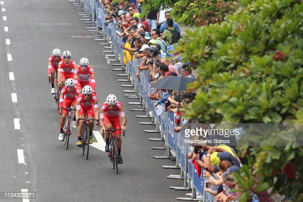 Matteo Pelucchi of Italy and Team Androni Giocattoli Sidermec / Marco Benfatto of Italy and Team Androni Giocattoli Sidermec / Miguel Eduardo Flórez...
