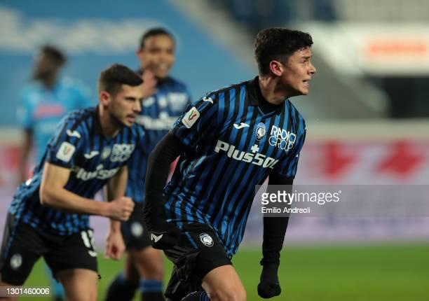 Matteo Pessina of Atalanta celebrates after scoring his team's second goal during the Coppa Italia match between Atalanta BC and SSC Napoli at Gewiss...