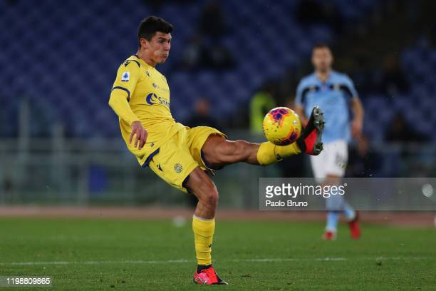 Matteo Pessina of Hellas Verona kicks the ball during the Serie A match between SS Lazio and Hellas Verona at Stadio Olimpico on February 5 2020 in...