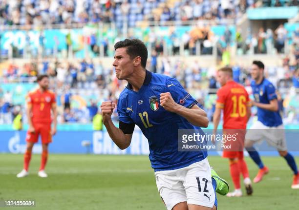 Matteo Pessina of Italy celebrates after scoring their side's first goal during the UEFA Euro 2020 Championship Group A match between Italy and Wales...