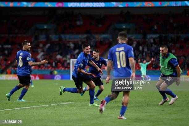 Matteo Pessina of Italy celebrates after scoring their side's second goal during the UEFA Euro 2020 Championship Round of 16 match between Italy and...