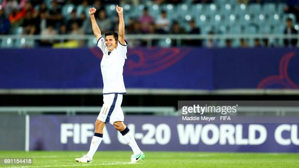 Matteo Pessina of Italy celebrates his teams 21 win over France in the FIFA U20 World Cup Korea Republic 2017 Round of 16 match at Cheonan Baekseok...