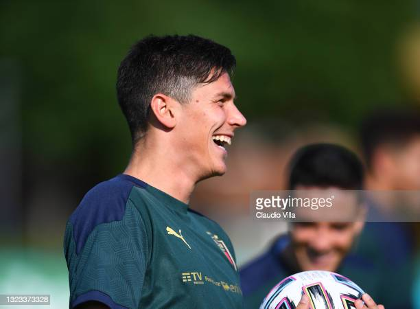 Matteo Pessina of Italy in action during an Italy training session at Centro Tecnico Federale di Coverciano on June 13, 2021 in Florence, Italy.