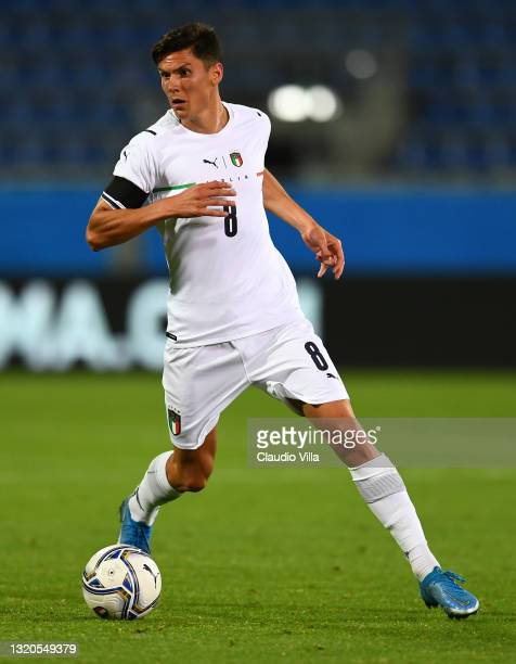 Matteo Pessina of Italy in action during the international friendly match between Italy and San Marino at on May 28, 2021 in Cagliari, Italy.