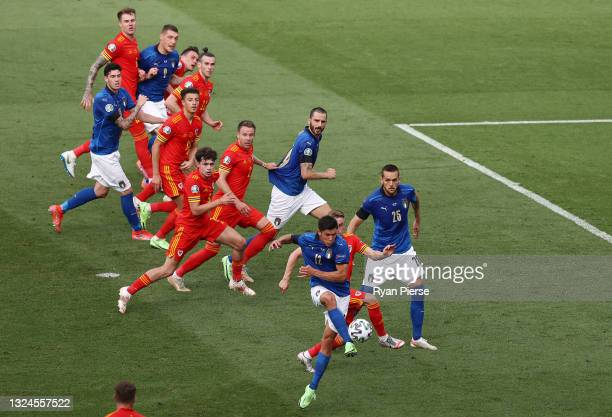 Matteo Pessina of Italy scores their side's first goal during the UEFA Euro 2020 Championship Group A match between Italy and Wales at Olimpico...