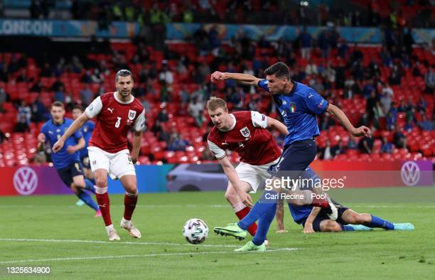 Matteo Pessina of Italy scores their side's second goal during the UEFA Euro 2020 Championship Round of 16 match between Italy and Austria at Wembley...