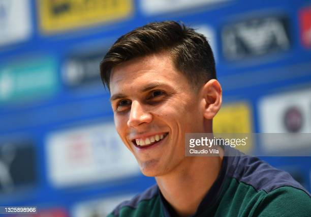 Matteo Pessina of Italy speaks to the media during an Italy press conference at Centro Tecnico Federale di Coverciano on June 28, 2021 in Florence,...