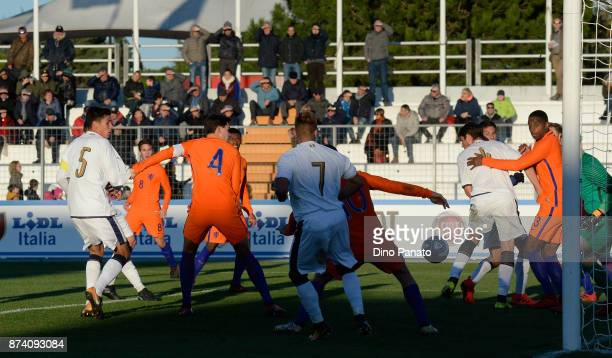 Matteo Pessina of Italy U20 scores his opening goal during the 8 Nations Tournament match between Italy U20 and Netherlands U20 at Stadio G Teghil on...