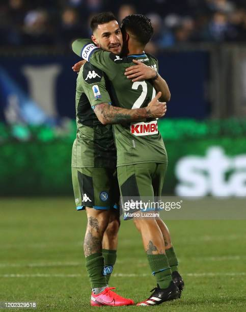 Matteo Politano and Lorenzo Insigne of SSC Napoli celebrate a victory at the end of the Serie A match between Brescia Calcio and SSC Napoli at Stadio...
