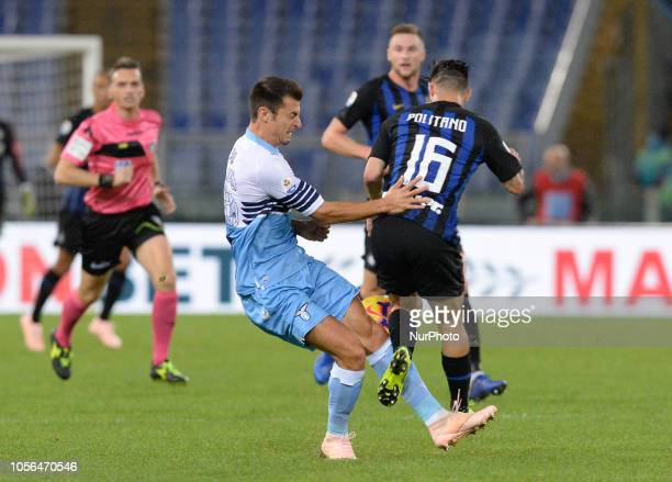Matteo Politano and Stefan Radu during the Italian Serie A football match between SS Lazio and Inter at the Olympic Stadium in Rome on october 29 2018