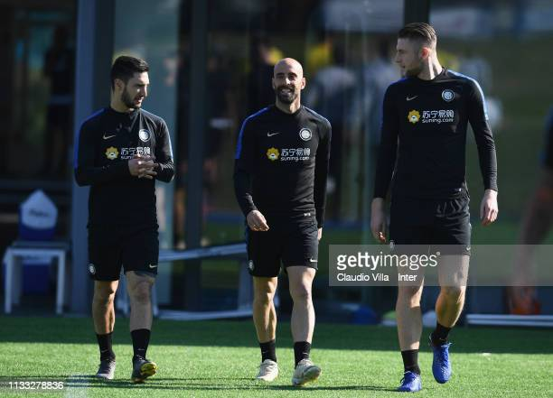 Matteo Politano Borja Valero and Milan Skriniar of FC Internazionale in action during a training session at the club's training ground Suning...