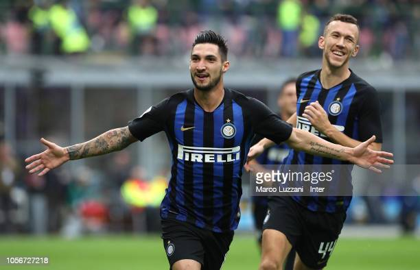 Matteo Politano of FC Internazionale celebrates after scoring the goal during the Serie A match between FC Internazionale and Genoa CFC at Stadio...