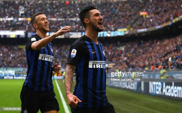 Matteo Politano of FC Internazionale celebrates his goal during the Serie A match between FC Internazionale and Genoa CFC at Stadio Giuseppe Meazza...