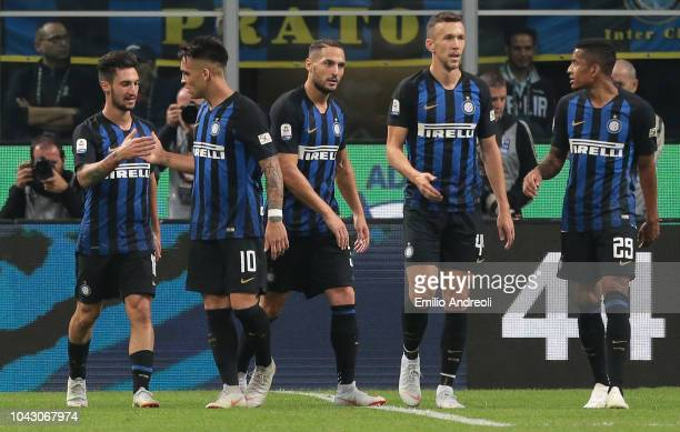 Matteo Politano of FC Internazionale celebrates his goal with his teammates during the Serie A match between FC Internazionale and Cagliari at Stadio...