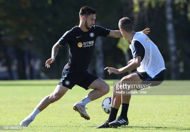 Matteo Politano of FC Internazionale competes for the ball during the FC Internazionale training session at the club's training ground Suning...