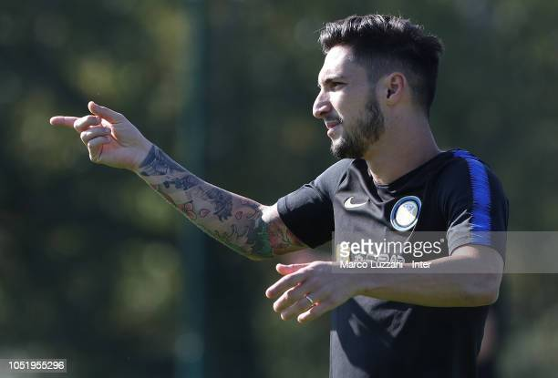 Matteo Politano of FC Internazionale gestures during the FC Internazionale training session at the club's training ground Suning Training Center in...