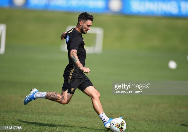 Matteo Politano of FC Internazionale in action during a FC Internazionale training session at Appiano Gentile on August 27 2019 in Como Italy