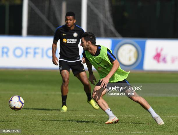 Matteo Politano of FC Internazionale in action during a training session at the club's training ground Suning Training Center in memory of Angelo...