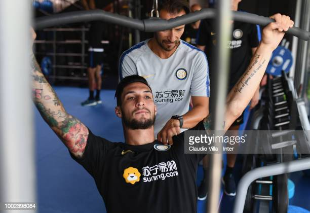 Antonio Candreva of FC Internazionale smiles during the FC Internazionale training session at the club's training ground Suning Training Center in...