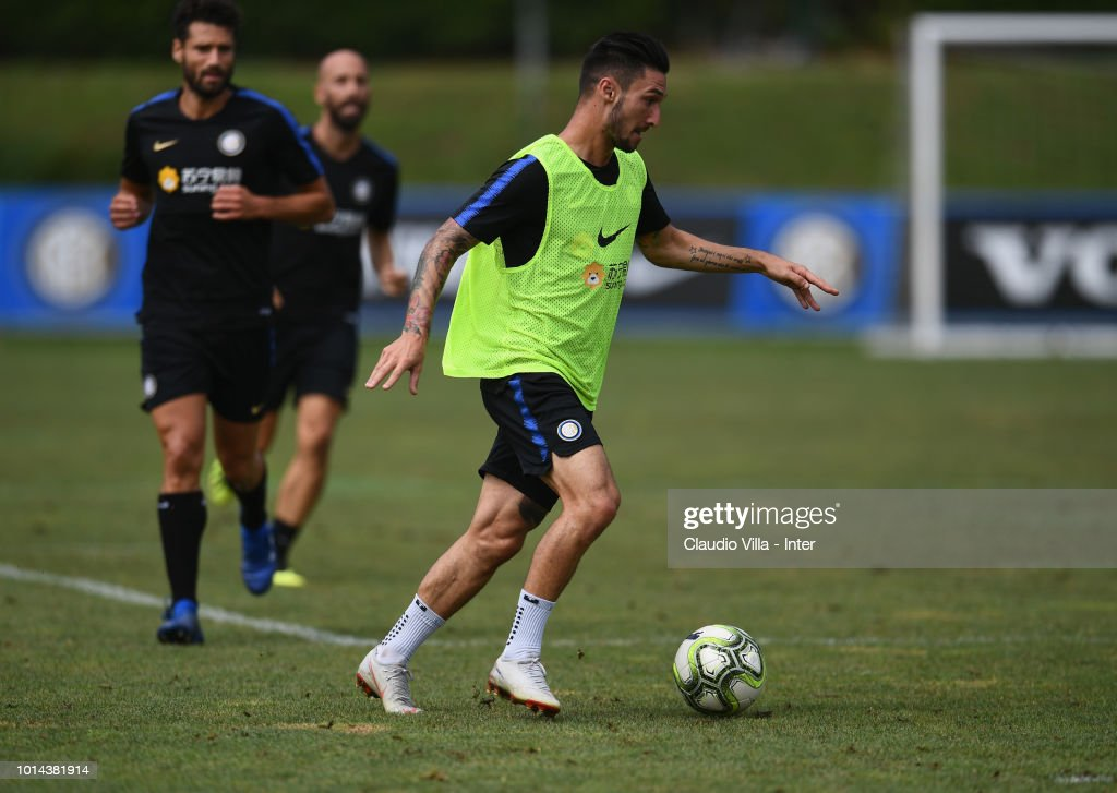 Matteo Politano of FC Internazionale in action during the FC Internazionale training session at the club's training ground Suning Training Center in memory of Angelo Moratti at Appiano Gentile on August 10, 2018 in Como, Italy.
