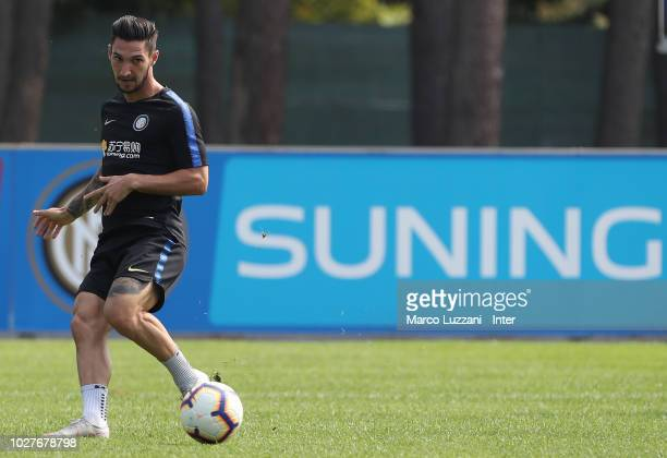 Matteo Politano of FC Internazionale in action during the FC Internazionale training session at the club's training ground Suning Training Center in...
